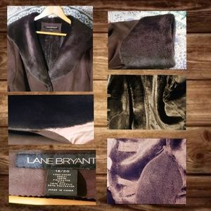Faux Fur & Suede Coat by Lane Bryant Sz 18/20